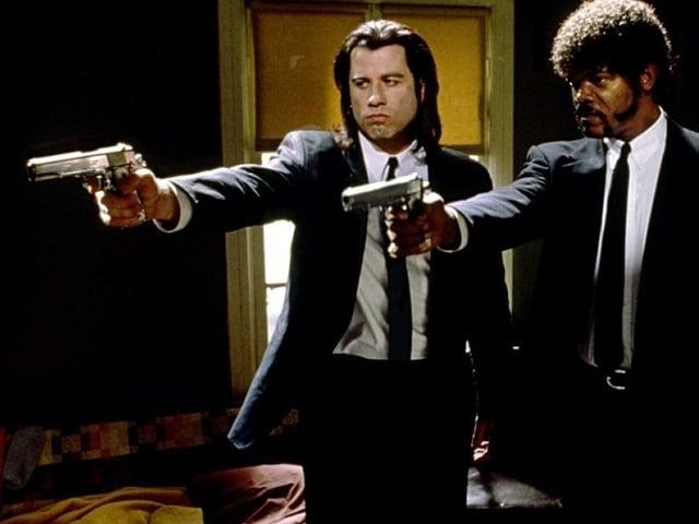 John Travolta (links) und Samuel L. Jackson als typische Tarantino-Gangster in «Pulp Fiction».