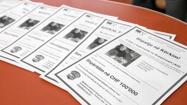 Flugblätter mit der Ausschreibung der Belohnung von 100'000 Franken liegen auf einem Tisch.