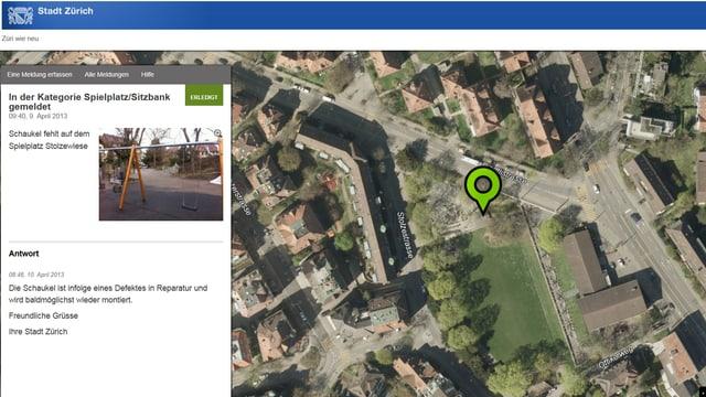 Eine Karte eines Spielplatzes, daneben der Beschrieb des Defektes.
