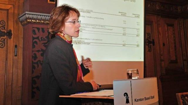 Eva herzog vor PP-Präsentation