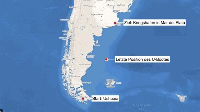 Karte mit drei Punkten, die zeigen: Startpunkt, Ort des letzten Kontakts und Zielhafen.