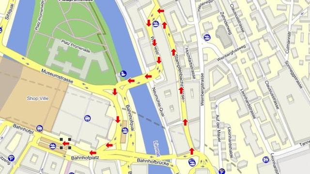 Umleitungen auf Stadtplan