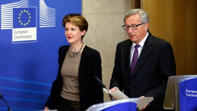 Simonetta Sommaruga cun Jean-Claude Juncker.