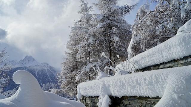 Verschneite Landschaft in Ftan mit Schneewolken und etwas blauem Himmel.