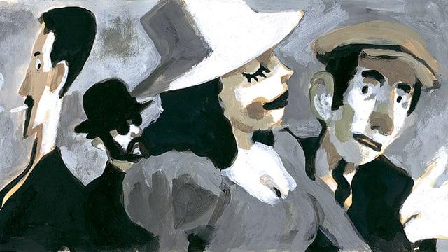 Eine Frau mit Hut und drei Männer auf einer Strasse.