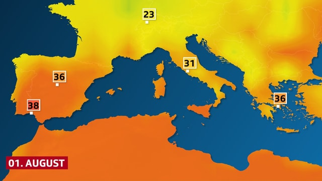 Hitze auf der Iberischen Halbinsel für Montag den 1. August.
