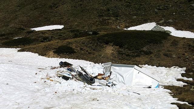 Abgestürztes Motorflugzeug.