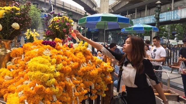 Ein Frau legt bei vielen Blumen weitere Blumen nieder.