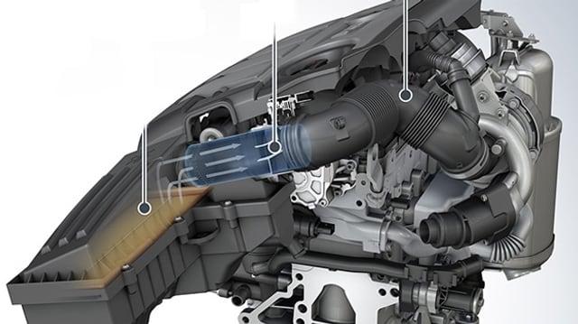 Technische Illustration des eingebauten Luftgitters im VW-Dieselmotor.