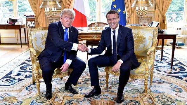 da san. Donald Trump ed Emmanuel Macron.