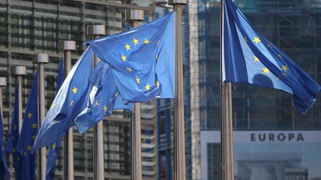 EU-Flaggen in Brüssel.