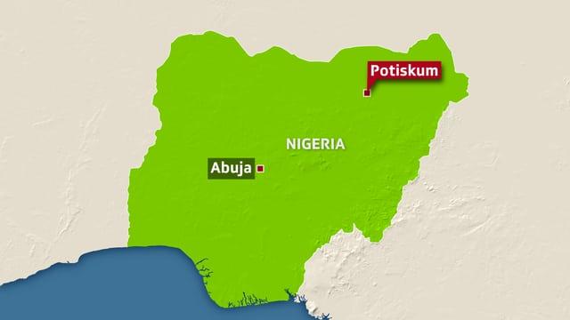 Karten-Ausschnitt von Nigeria