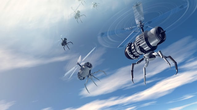 Illustration von winzigen fliegenden Nano-Drohnen vor einem bewölkten Himmel.