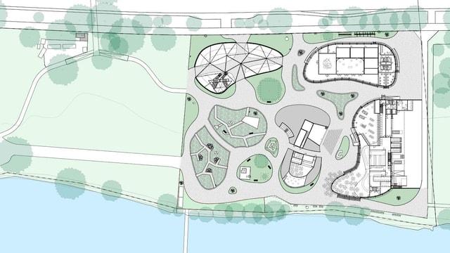 Auf einer Karte ist skizziert, wo im Erlebnisgarten Bühnen, Pavillons oder GRünflächen geplant sind.