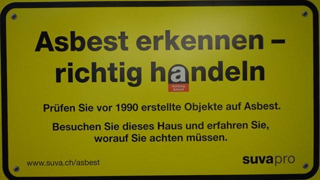 Suva-Schild: Asbest erkennen - richtig handeln.