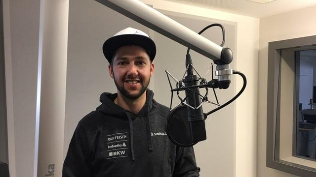 Telemark-Doppelweltmeister Stefan Matter auf Besuch im Studio Luzern