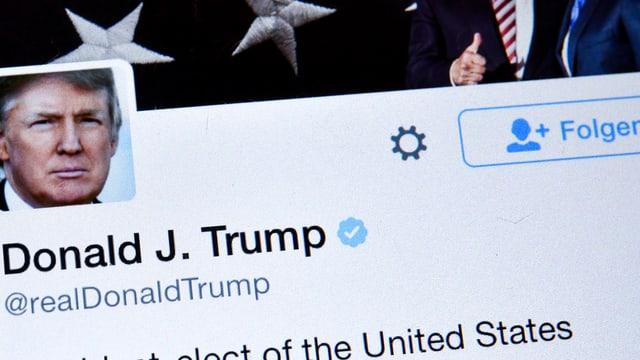 Das Twitter-Profil des US-Präsidenten Donald Trump.
