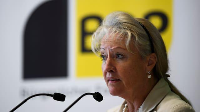 Purtret Barbara Janom Steiner a la delegada a Seewis.
