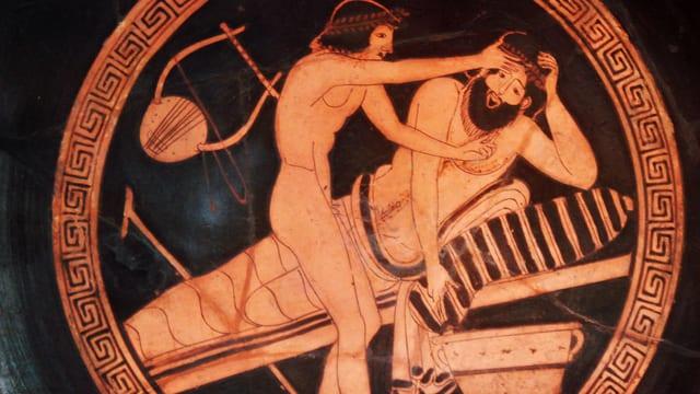 Vase mit Relief: Slave hält den Kopf seines Herrn