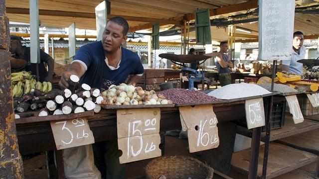 Ein dunkler kubanischer Verkäufer steht hinter einem Markstand. Vor ihm liegen diverse Produkte (zum Beispiel Manjok, Zwiebeln und Bananen)