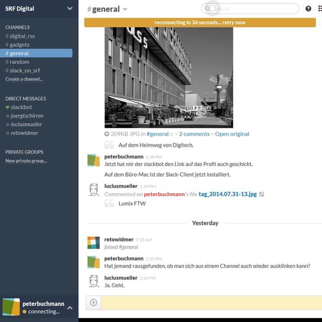 Screenshot eines Chats mit Bild aus Slack.