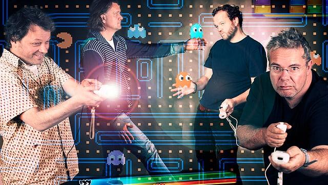 Vier Männer inszenieren sich mit Computerspielen. Sie halten Spielkonsolen in den Händen.