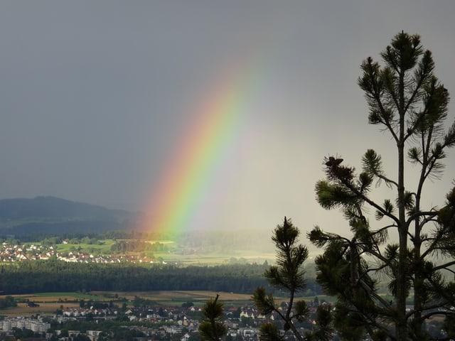 Regenbogen über dem Tal.
