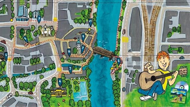 Karte der Stadt Olten für Kinder,