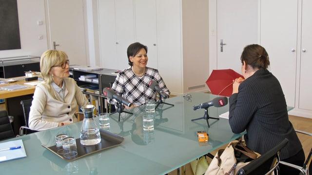 Regine Aeppli (SP) und Ursula Gut (FDP), im Interview mit SRF-Redaktorin Sabine Meyer.