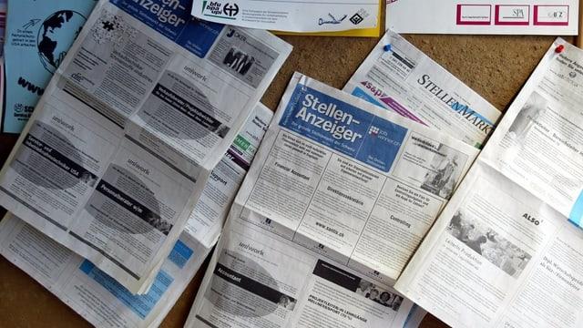 Stellenanzeiger von Zeitungen.