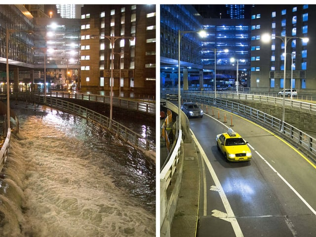 Der Eingang des Brooklyn-Battery-Tunnel in New York unter Wasser.