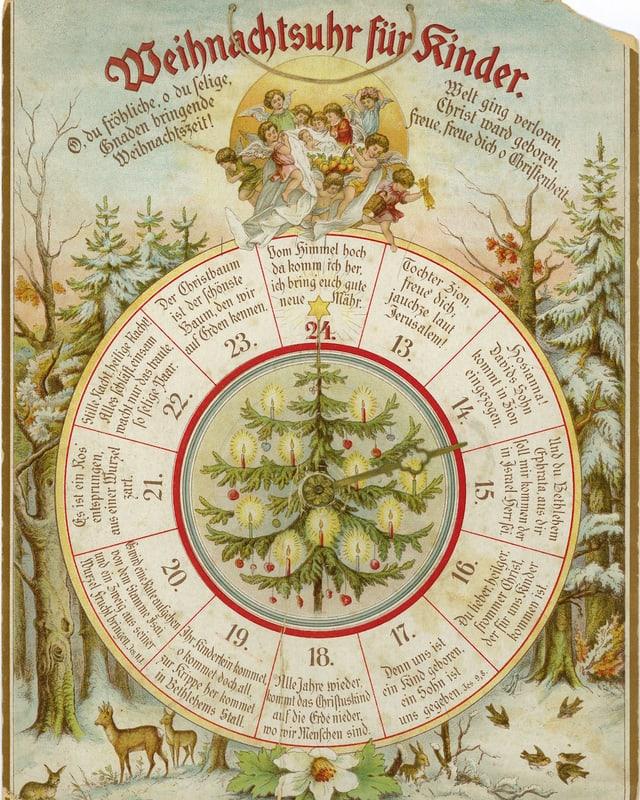 Ein historischer Adventskalender in Form einer Uhr.