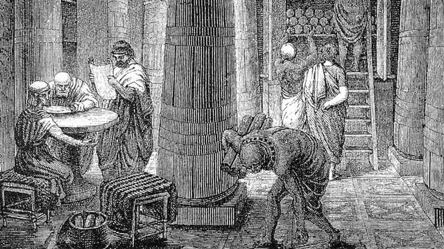 Schwarzweisse Zeichnung: Männer in antiker Kleidung in einem grossen RAum mit grossen Säulen. Im Huntergrund Papyrus-Rollen in einem Regal.