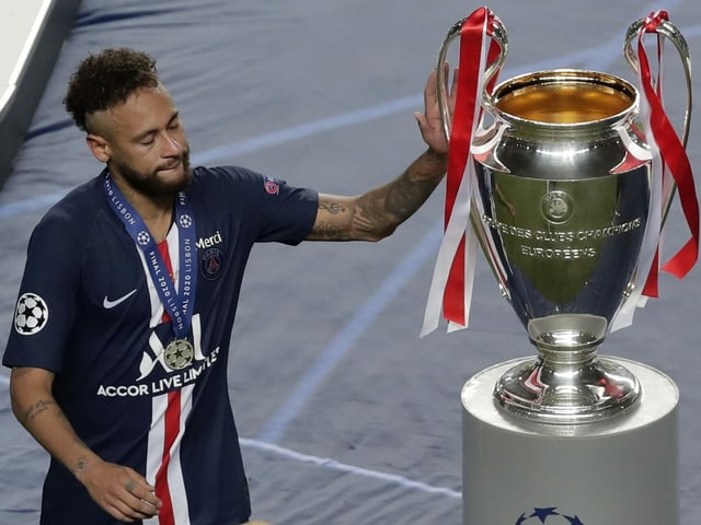 Ein niedergeschlagener Neymar nach dem CL-Final in Lissabon.