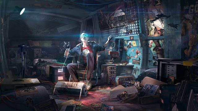 Zeichnung: Ein Mann sitzt in einem chaotischen Zimmer. Er hat eine VR-Brille auf.