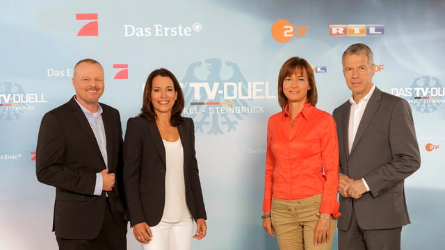 Die Moderatoren: Stefan Raab, Anne Will, Maybrit Illner, Peter Kloeppel