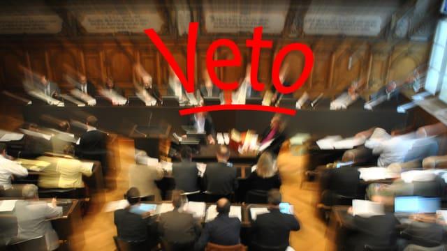 Der Schaffhauser Kantonsratssall - in roter Schrift darüber: Veto