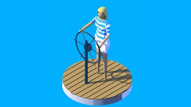 Darstellung einer Weltumseglerin an einem Steuerrad auf einem Segelboot vor blauem Hintergrund.