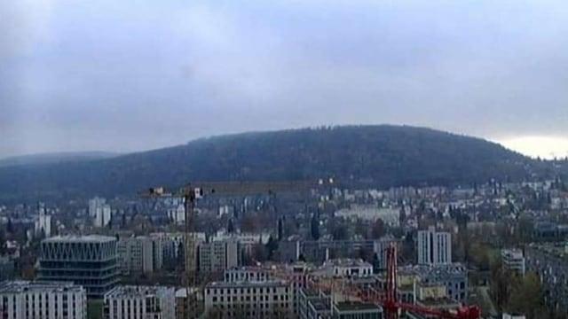 Blick vom Meteodach zum Zürichberg. Knapp darüber liegt die Hochnebelschicht.