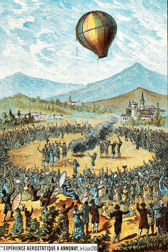 Eine farbige Illustration eines Heissluftballon.