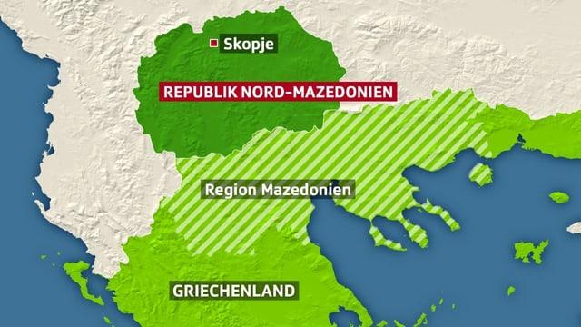 Karte mit der Sicht auf Region Mazedonien und Griechenland und das neue Land Nord-Mazedonien mit der Hauptstadt Skopje.