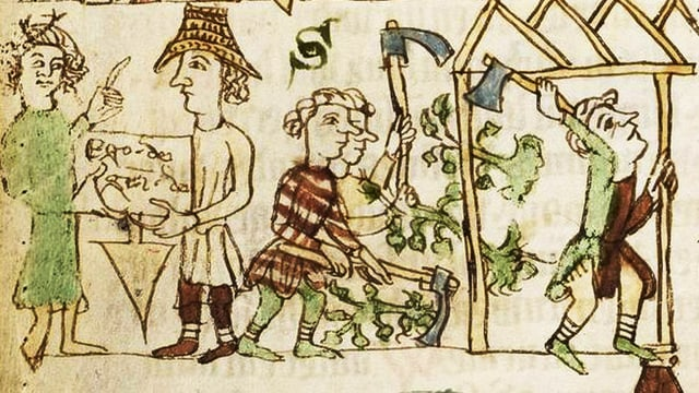 Mittelalterliche Darstellung eines Hausbaus