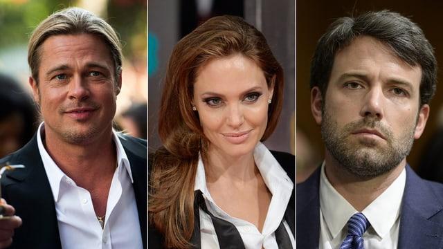 Porträts von Brad Pitt, Angelina Jolie und Ben Affleck.