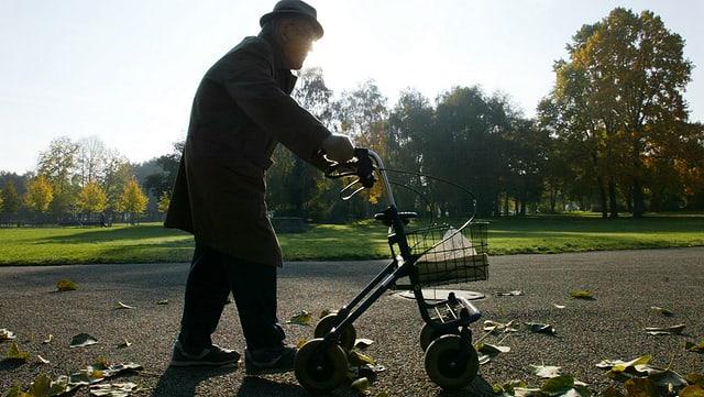 Ein älterer Herr mit Hut geht mit Hilfe eines Rollators durch einen Park.