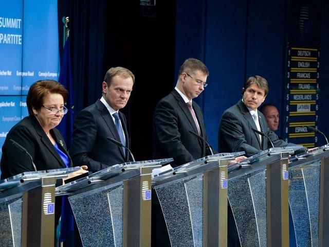 Beyrer, u.a. mit EU-Ratspräsident Donald Tusk und dem lettischen Premier Valdis Dombrovskis