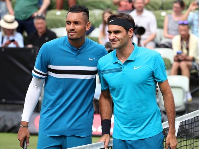 Nick Kyrgios und Roger Federer.