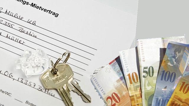 Mietvertrag mit Schlüssel und Banknoten darauf.