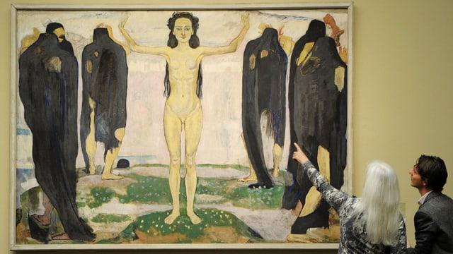 Das Gemälde «Die Wahrheit» zeigt eine Frau umgeben von schwarz gekleideten Gestalten.