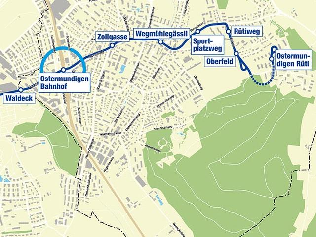 Karte mit neuer Linienführung Tram 10.