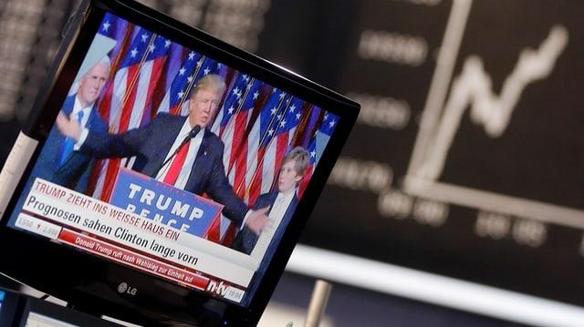 Ina televisiun cun Trump davos ina curs da la bursa.